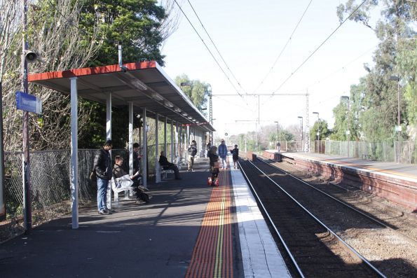 New passenger shelters on the citybound platform at Newmarket station