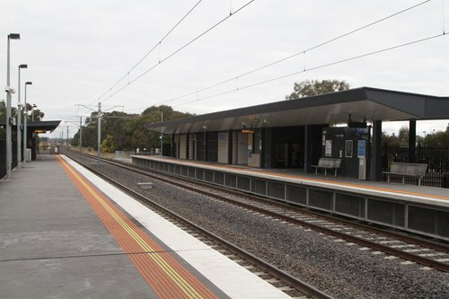 Looking across to the station building at Lynbrook platform 1