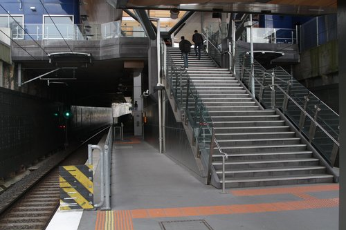 Stairs linking the west side of Springvale Road to the platforms at Nunawading station