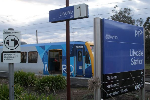 Signage at the down entrance to Lilydale station, now closed to public access