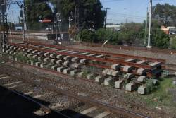 Unused track panels still in place at Caulfield station