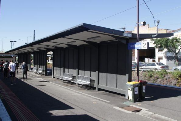 Massive shelter added at the up end of the platform at Huntingdale station