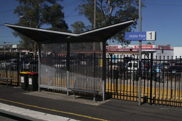 'Eastlink' style platform shelters at Noble Park station