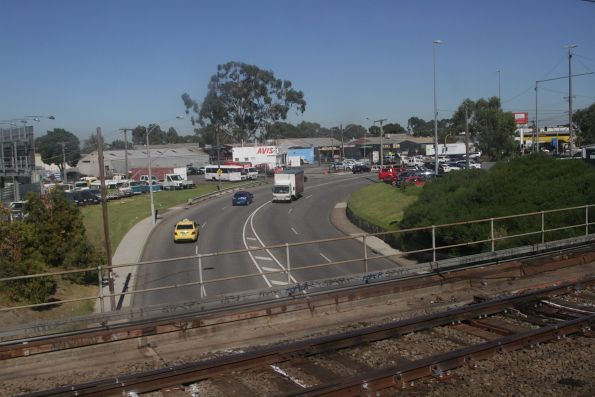 Cheltenham Road passes beneath the railway line at Dandenong