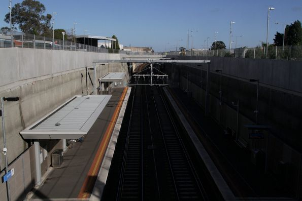 Looking down on the platforms at Mitcham station
