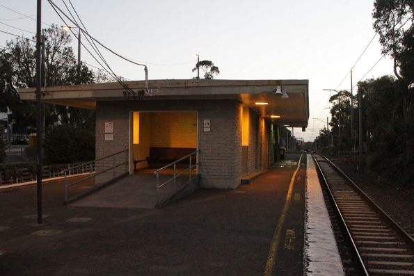 Down end of the station building at Ringwood East