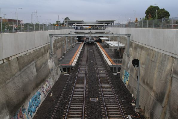 Looking down the line towards the sunken platforms at Mitcham station