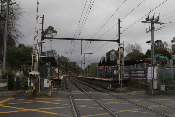 Looking up the line at Heatherdale station from Heatherdale Road