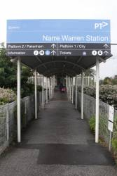 Entrance to the island platform at Narre Warren station