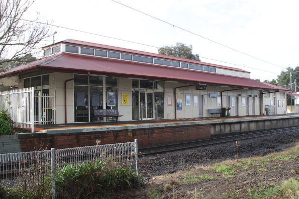 Station building on the island platform at Berwick
