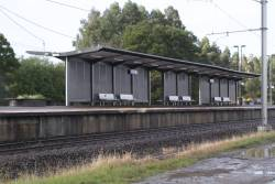 Passenger shelters on the platform at Berwick