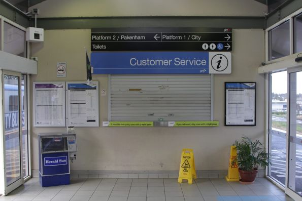 Closed customer service counter at Berwick station