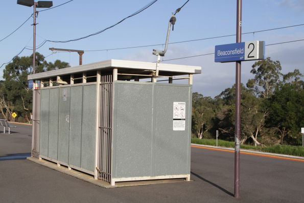 Locked toilet block on the platform at Beaconsfield station