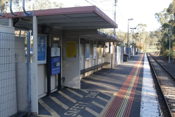 Little shelter for passengers at Wattle Glen station