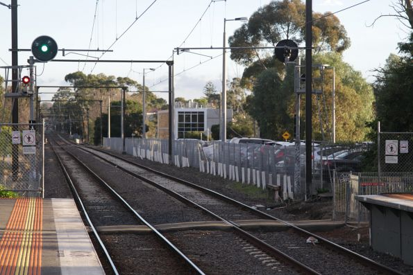 Looking up the line at Burwood station