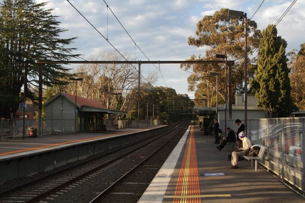 Looking down the line at Burwood station