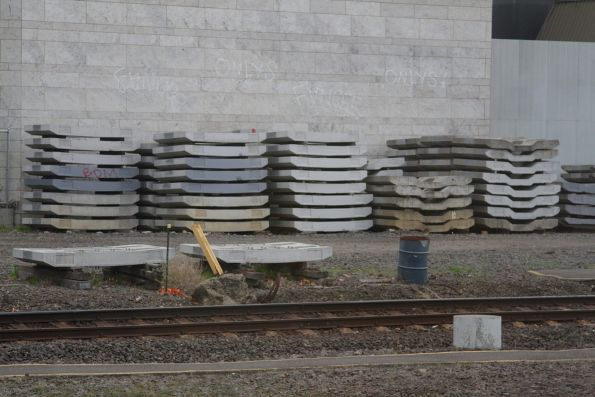 Concrete track slabs for the City Loop stacked up at Richmond Junction
