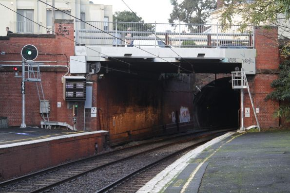 Tunnel portal at the city end of West Richmond station