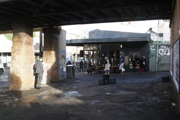 Cafe beneath the railway viaduct at Victoria Park station