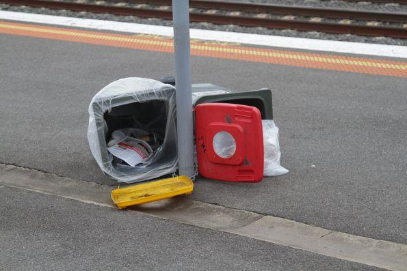 Rubbish bins blown over in the wind at Middle Footscray