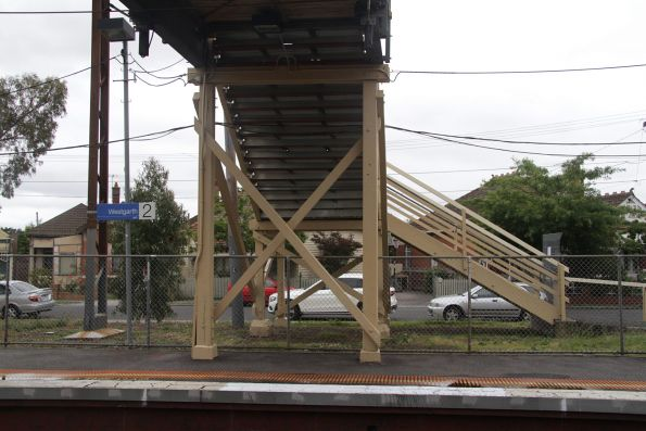 Footbridge under repair at Westgarth station