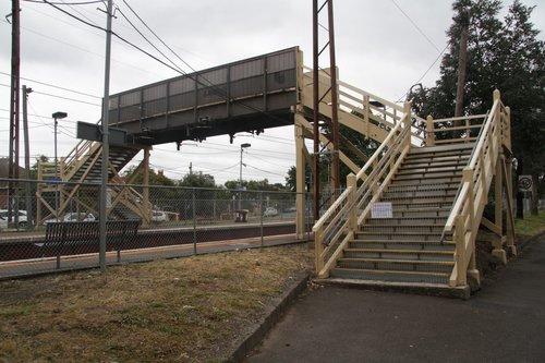 Footbridge under repair at Westgarth station