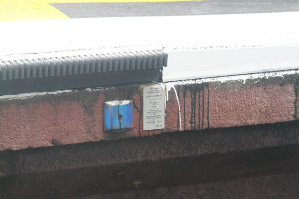 'Control mark' affixed to the platform edge at South Yarra station