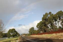Rainbow over the tracks at Kororoit Creek in Ardeer