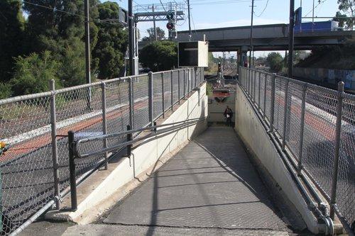 Ramp between platform and pedestrian subway at Albion station