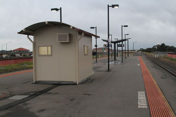 Portable station building on the platform at Deer Park for the use of station staff