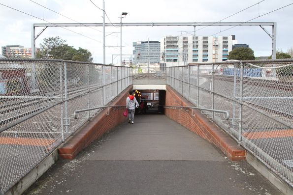 Looking down the steep ramp at Middle Footscray station