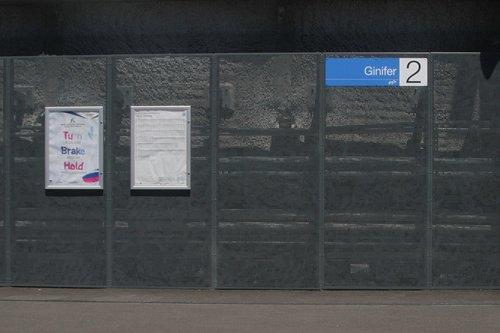 Plain grey walls at Ginifer station