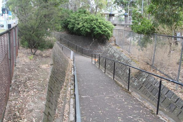 Ramps leading into the pedestrian subway at Sandown Park