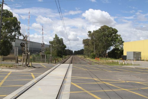 Looking down the Cranbourne line from Greens Road, Dandenong South
