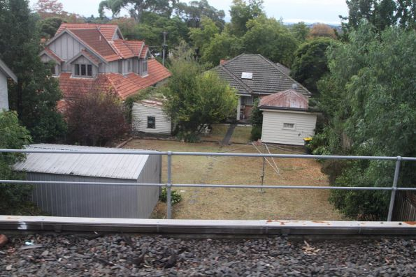 Looking down into the backyards of Mont Albert from the 1970s grade separation at Elgar Road