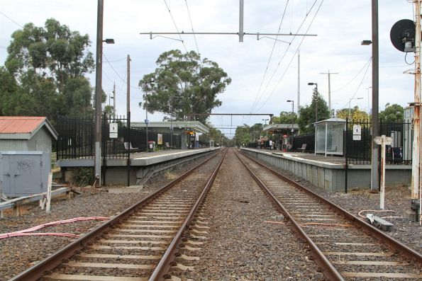 Ferntree Gully station viewed from the down end pedestrian crossing