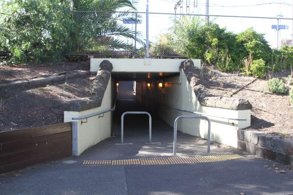 Pedestrian underpass at the down end of Essendon station