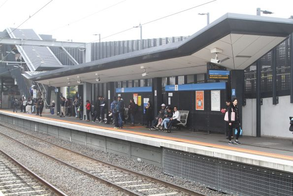 Passengers wait for an up suburban service at Sunshine