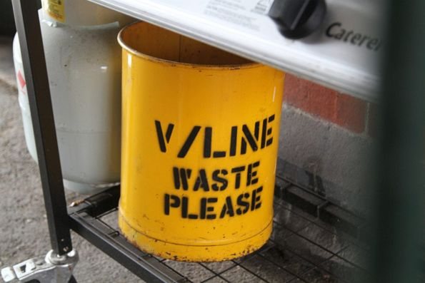 'V/Line waste please' bin