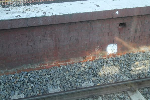 Fresh track and unpainted platform face at Malvern station