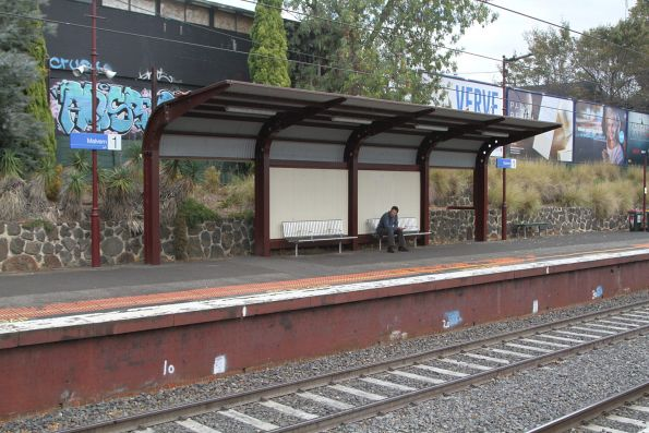 Heritage styled platform shelter at the down end of Malvern platform 1