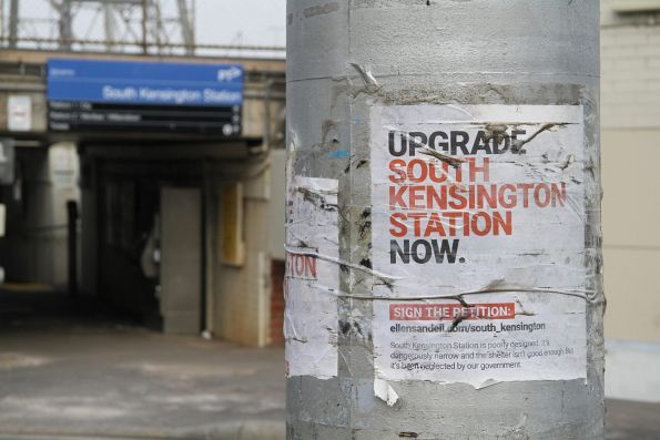 Poster for a 'Upgrade South Kensington station now' petition run by Greens member for Melbourne Ellen Sandell