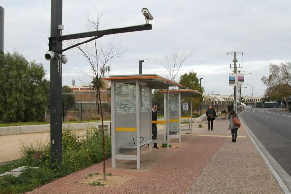 CCTV camera pointed at the rail placement bus stop at Footscray station