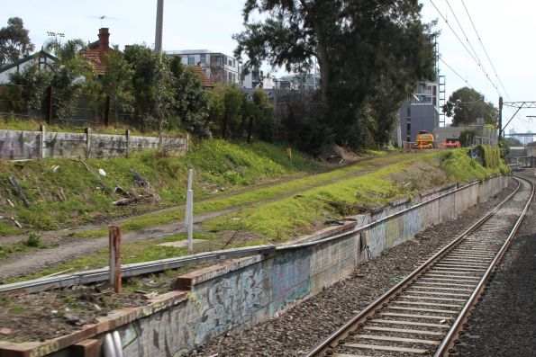 Ramp marks the alignment of the track that led to the former Toorak station goods yard