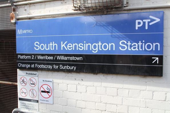 'Change at Footscray for Sunbury' message at South Kensington platform 2