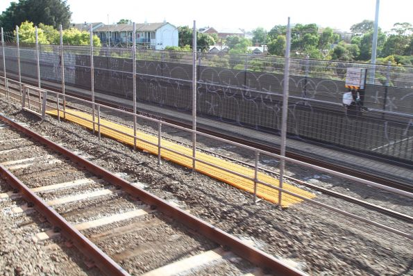 Orange plastic walkways at the Victoria Park sidings