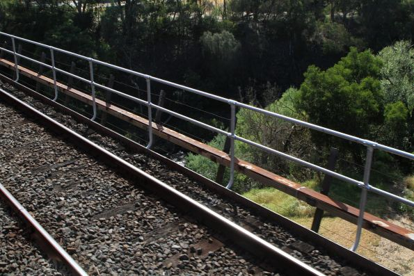 Additional hand rails retrofitted to the Merri Creek bridge at Rushall