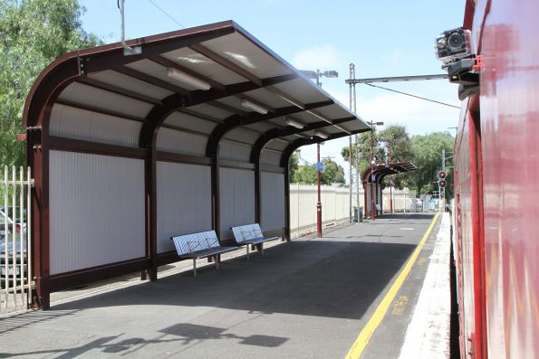 Heritage styled passenger shelters at the up end of Clifton Hill platform 1