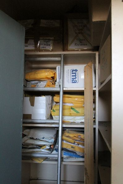 Boxes of 2008 concession card application forms filed away in a storeroom
