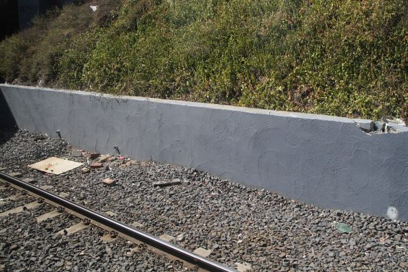 Retaining wall along the east side of the Windor railway cutting